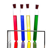 Labolatory glassware with colorful fluids isolated Royalty Free Stock Image
