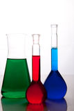 Labolatory glassware with colorful fluids isolated Stock Photo