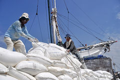 Labor activity at the port of Sunda Kelapa, Jakarta Stock Photos