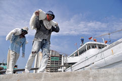 Labor activity at the port of Sunda Kelapa, Jakarta Royalty Free Stock Image