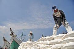 Labor activity in Sunda Kelapa Harbor Royalty Free Stock Image