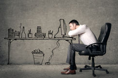 Labor boredom. Illustrated boring man on desk Royalty Free Stock Photography