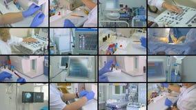 Labor, Chirurgie, Collage der medizinischen Ausrüstung Stethoskop liegt auf Set Geld stock video