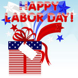 Labor Day. Labor Day background. Gift with red bow and retro stars vector illustration