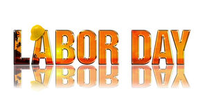 Labor Day. Embossed reflectiv dimensional wording on white background stock illustration