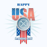 Labor day, abstract computer graphic design with flags, hammer and wrench Royalty Free Stock Photos