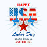 Labor day, abstract computer graphic design with flags and stars Stock Images