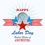 Labor day, abstract computer graphic design with hammer and wrench Stock Photography