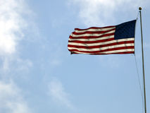 Labor Day American Flag on Blue Sky Royalty Free Stock Photography