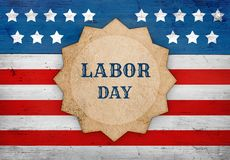 Labor Day american flag, patriotic background. Labor Day patriotic background, star shape with text on the US flag, banner design stock photo