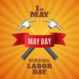 Labor Day background template. May Day. May 1st. Labor Day background with two hummers and red ribbon. Poster, greeting card or brochure template. Vector Stock Images