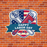 Labor day badge emblem with wrenches and American flag. Royalty Free Stock Photography