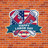 Labor day badge emblem with wrenches and American flag. Stock Image