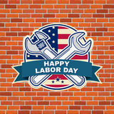 Labor day badge emblem with wrenches and American flag. Stock Photography
