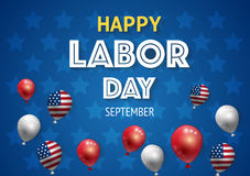 Labor day banner template decor with American flag balloons design.American labor day wallpaper Stock Images