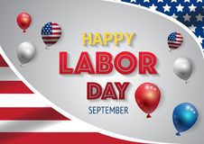 Labor day banner template decor with American flag balloons design.American labor day wallpaper Royalty Free Stock Images