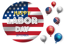 Labor day banner template decor with American flag balloons design.American labor day wallpaper Royalty Free Stock Photos
