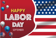 Labor day banner template decor with American flag balloons design.American labor day wallpaper Stock Photos