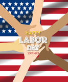 Labor day banner template decor with American flag and hands.American labor day wallpaper Stock Photo