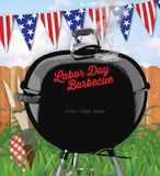 Labor Day Barbecue Invitation Backyard. With grass and fence and American Bunting Flags weber royalty free illustration