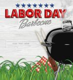 Labor Day BBQ Barbecue Invitation. Poster Art Flyer on Wood Background with Grill and Grass Outdoors Backyard royalty free stock photo