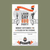 Labor day BBQ invitation card Royalty Free Stock Photos