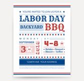Labor Day BBQ invitation template - Labor Day USA grill party flyer design - vector illustration retro. Style stock illustration