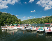 Labor day boating party on Cheat Lake Morgantown WV. MORGANTOWN, WEST VIRGINIA, USA - SEPTEMBER 4: Students and vacationers party on Cheat Lake on September 4 royalty free stock image