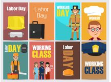 Labor Day Bright Promotion Posters Collection. Labor Day, workers and working Class promotion posters collection. Banners with vector illustrations of most Stock Photo