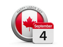 Labor Day Canada. Emblem of Canada with calendar button - The Fourth of September - represents the Happy Labor Day 2017 in Canada, three-dimensional rendering Stock Images