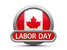 Labor Day in Canada icon 2. Emblem, icon or button with canadian flag represents Labor Day in Canada, isolated on white background, three-dimensional rendering stock illustration