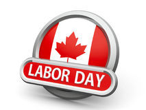 Labor Day in Canada icon. Emblem, icon or button with canadian flag represents Labor Day in Canada, isolated on white background, three-dimensional rendering, 3D Royalty Free Stock Images