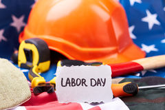 Labor Day card and flag. Royalty Free Stock Image