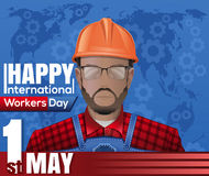 Labor Day card. 1 May. International Workers Day Stock Images