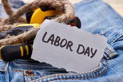 Labor Day card near rope. stock images