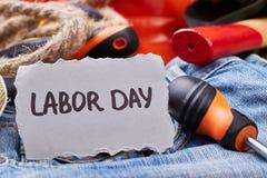 Labor Day card near screwdriver. Stock Photography
