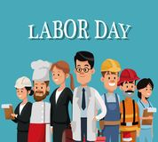 Labor day card with people occupation difference. Vector illustration Stock Images
