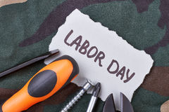 Labor Day card and tools. Stock Image