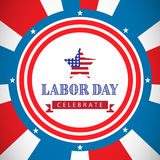 Composite image of labor day celebrate text and star shape american flag. Labor day celebrate text and star shape American flag against stars in a blue Royalty Free Stock Image