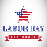 Labor day celebrate text and star shape American flag. Composite image of labor day celebrate text and star shape American flag against white background Royalty Free Stock Images