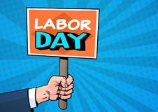 Labor Day Comic Poster Over Pop Art Background 1 May Holiday Greeting Card Design. Flat Vector Illustration Royalty Free Stock Images