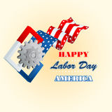 Labor day, computer graphic design with cogwheels symbol and squares on American national flag colors Royalty Free Stock Image