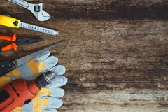 Labor day. Construction tools with copy space.  stock image