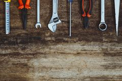 Labor day. Construction tools with copy space.  royalty free stock images