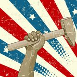 Labor Day Design. Design for Labor Day with workers hand holding a hammer stock illustration
