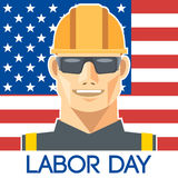 Labor Day design, with a worker with safety helmet and glasses over the flag of united states of america Stock Image