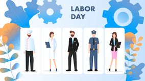 Labor Day Different Occupation Character Stand Set. Group of People Wear Special Uniform. Chef, Supply Manager, Businessman, Police Man, Office Worker. Flat stock illustration