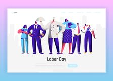 Labor Day Different Profession Character Group Landing Page. September Holiday National Celebration Man and Woman. Labor Day Different Profession Character Group royalty free illustration