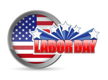 labor day flag seal sign illustration design Stock Images