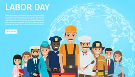 Labor Day Flat Vector Web Banner with Professions. International labor day web banner with people professions. Occupations cartoon characters in uniform flat royalty free illustration